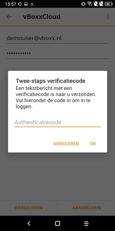 twee-stap authenticatie android app - vBoxxCloud