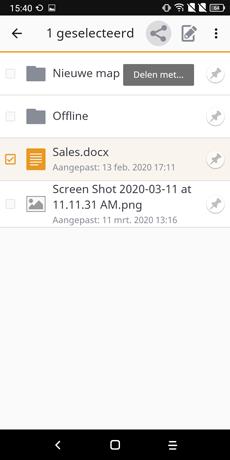 bestanden delen - vBoxxCloud android app