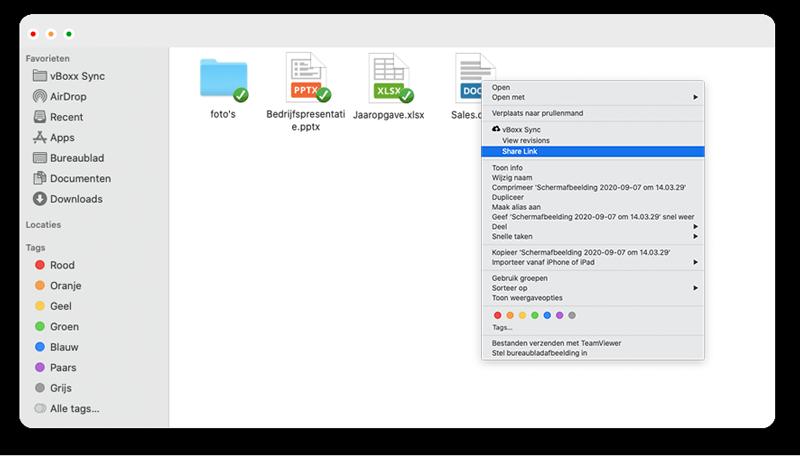 bestanden delen sync client - vBoxxCloud