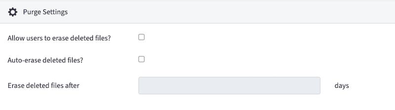 vboxxcloud organization purge settings