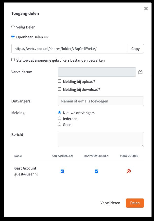 bestanden delen gast gebruiker - vBoxxCloud