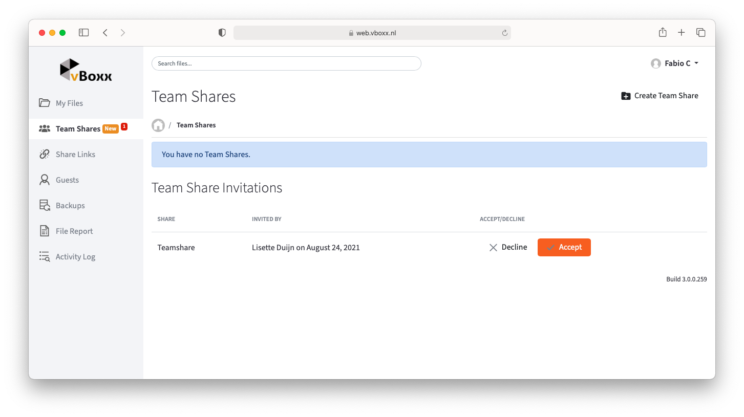 invite subscribers to team share - vboxxcloud