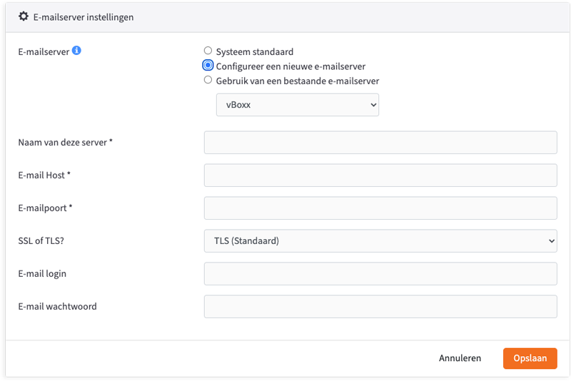 email server settings - vBoxxCloud