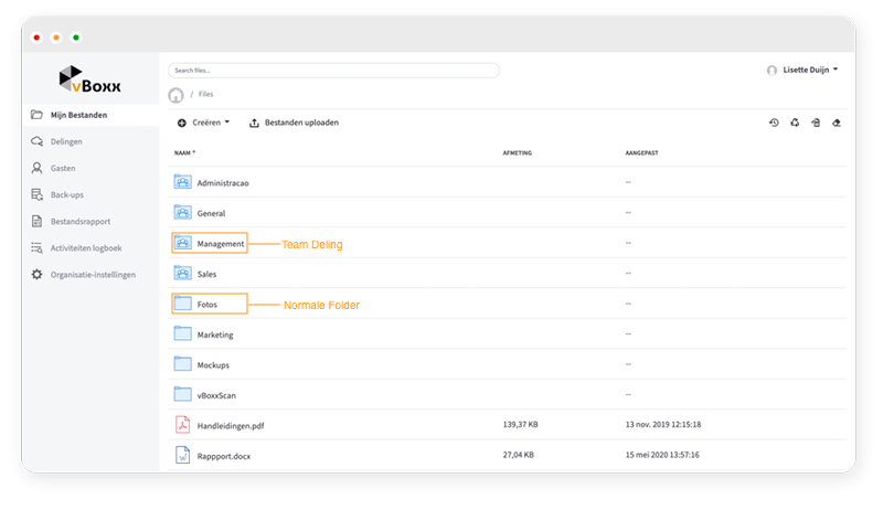 team shares en normale folders - vBoxxCloud